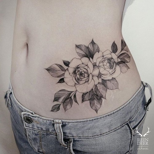 Usual looking painted by Zihwa waist tattoo of simple rose