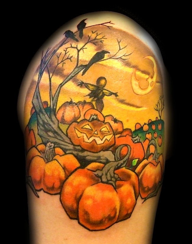 Usual old school colored shoulder tattoo of creepy garden with Halloween like pumpkin and scarecrow