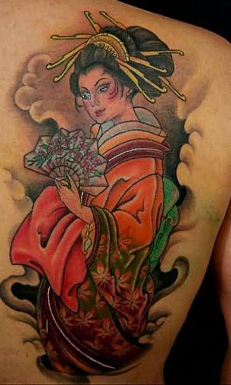 Usual old school designed colored shoulder tattoo of cute Asian woman in nice dress