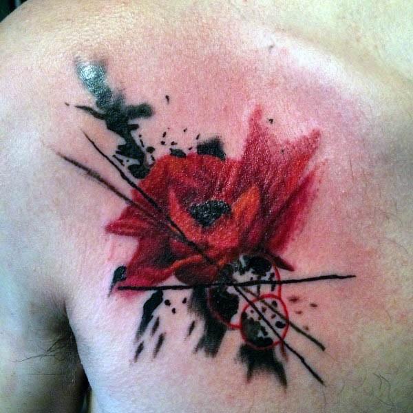 solito stile colorato piccolo fiore tatuaggio su petto