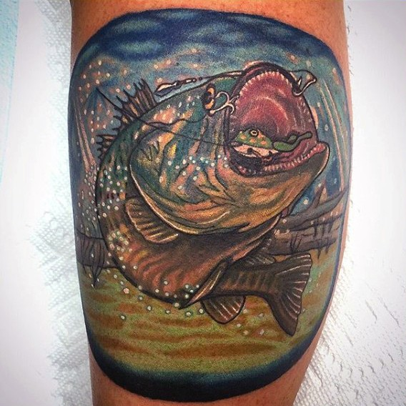 Usual style colored little hooked carp fish tattoo on leg