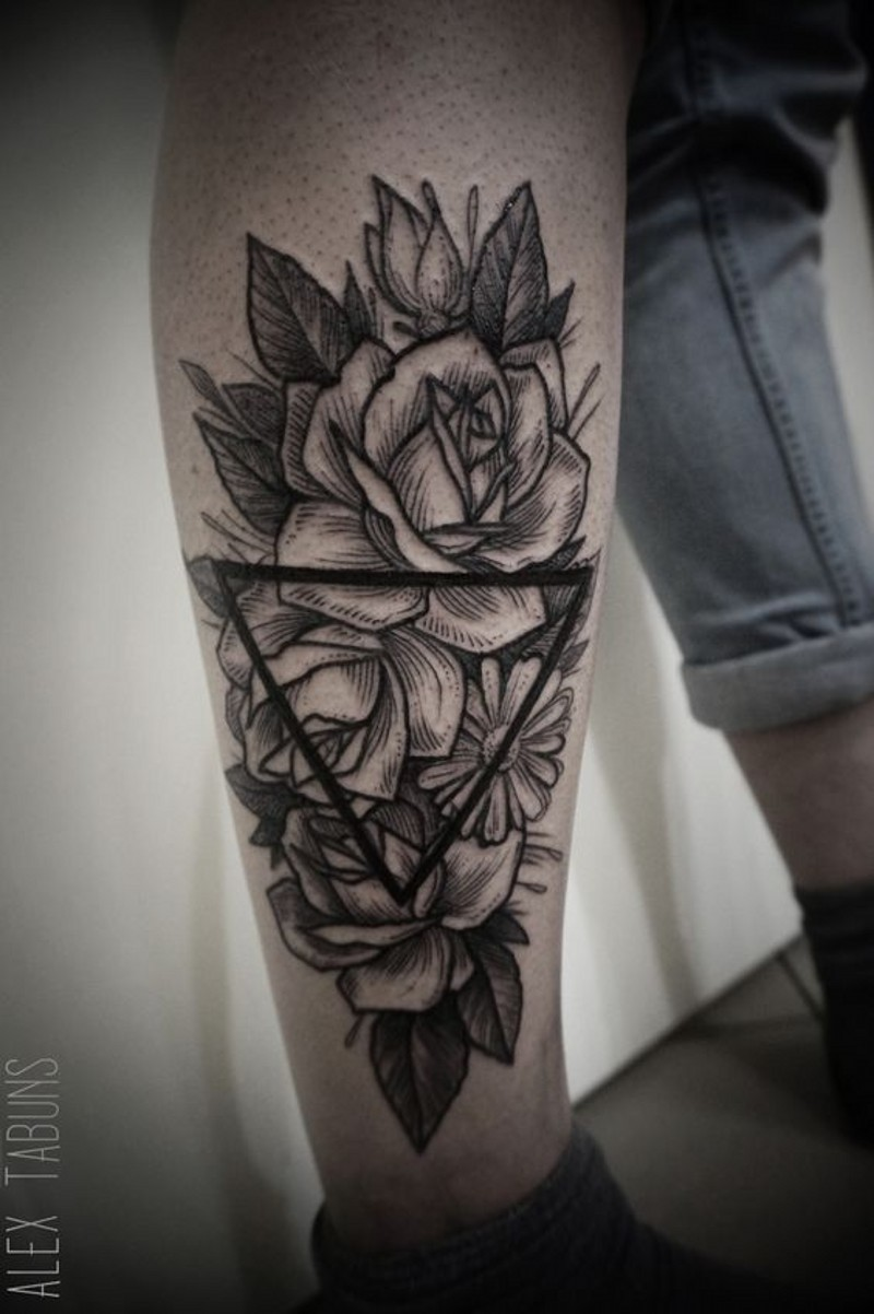 Usual style painted black ink flowers with triangle tattoo on leg