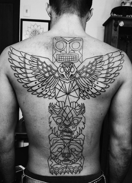Usual style various animals tribal statue black ink tattoo on whole back