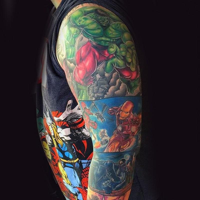 Various comic books heroes colored sleeve tattoo