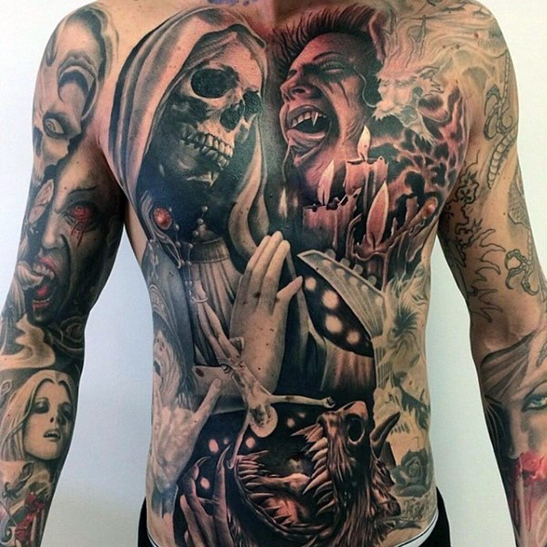 Various old and modern horror movies portraits tattoo on whole body