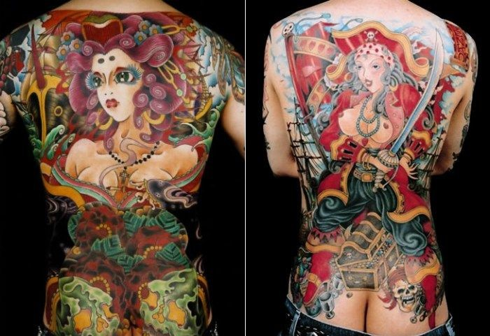 Various style painted and colored massive pirate women tattoo on whole back