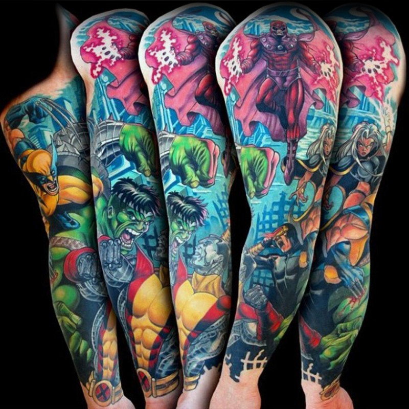 Various super heroes comic books style colored tattoo on sleeve area