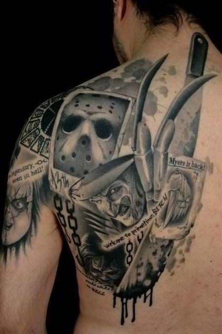 Various very realistic horror movies heroes portraits tattoo on shoulder