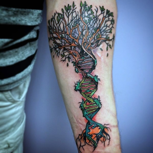Dna Tattoos Designs Ideas And Meaning: Very Beautiful Designed And Colored DNA With Tree Tattoo