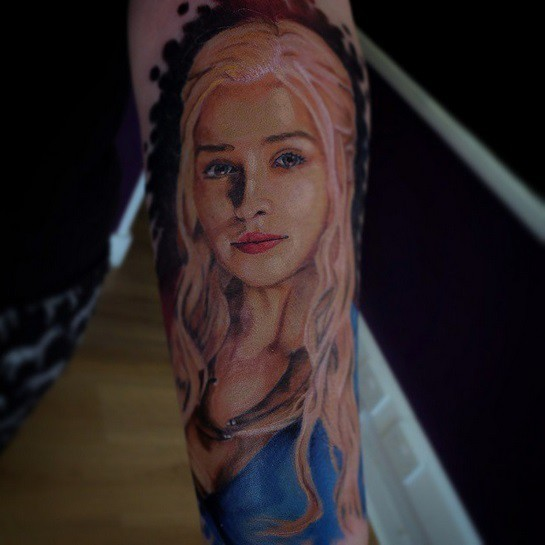 Very beautiful designed colored Game of Thrones main woman hero tattoo on forearm