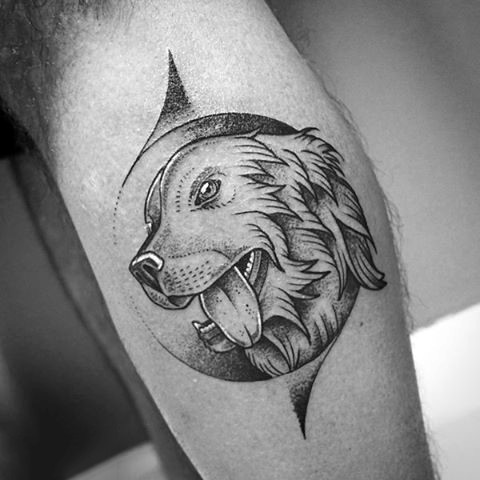 Very beautiful painted black ink dog portrait tattoo on leg