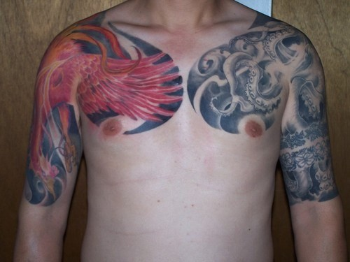 Very cool chinese tattoo design on chest and hands