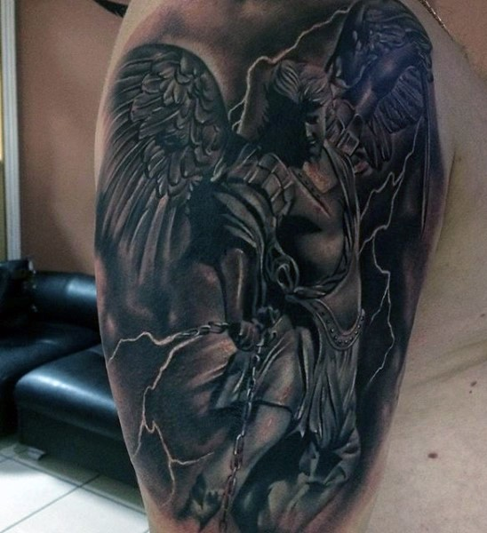 Very detailed black and white angel warrior tattoo on shoulder with lightning