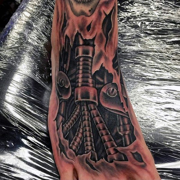 Very detailed black and white biomechanic foot tattoo on foot