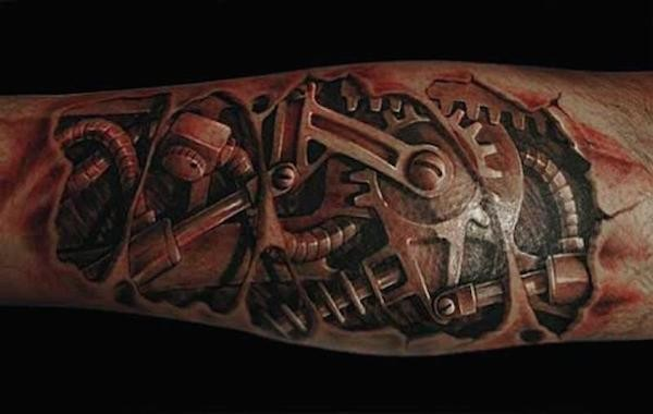 Very detailed colored under skin mechanical tattoo on forearm
