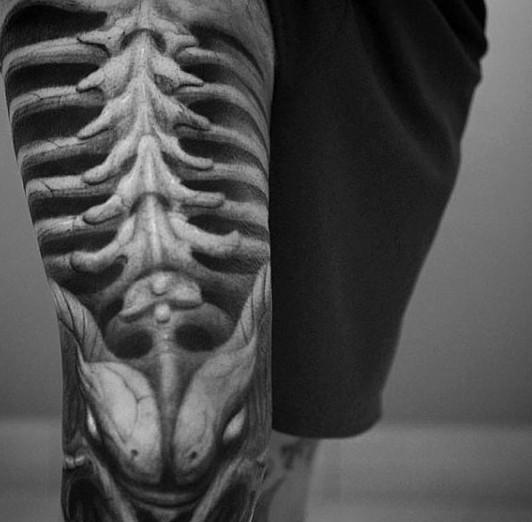 Sehr detaillierte coole schwarze und weiße Wirbelsäule Knochen ...