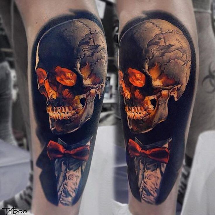 Very detailed new school style colored leg tattoo of skeleton in suit