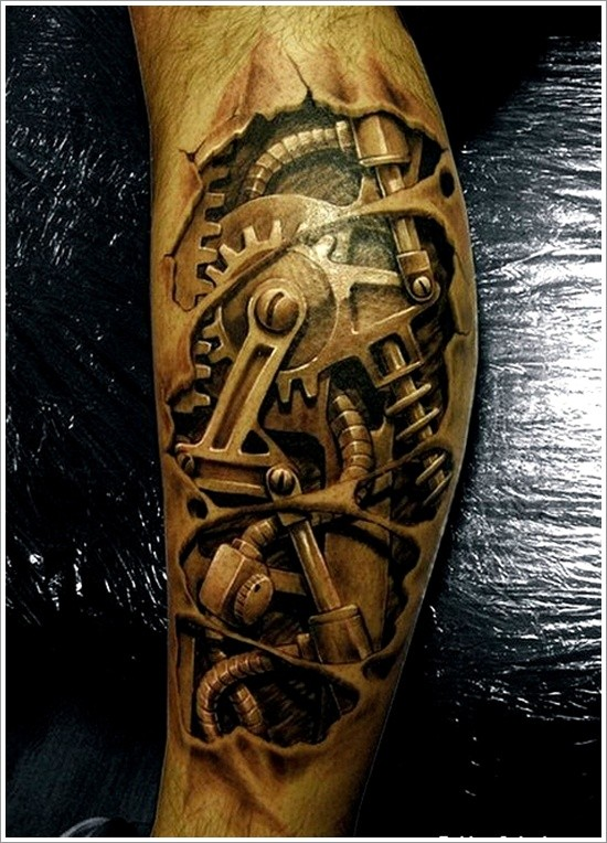 Very Realistic 3d Black And White Mechanic Tattoo On Leg