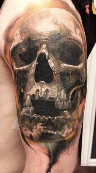 Very realistic big black ink old skull tattoo on shoulder
