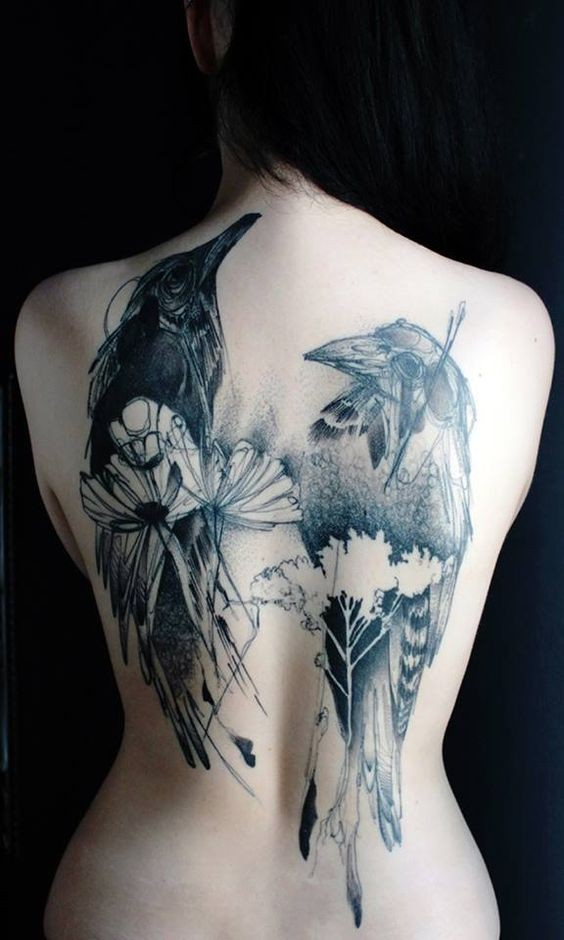 Very realistic cool black and white wild life crows with flowers tattoo on whole back