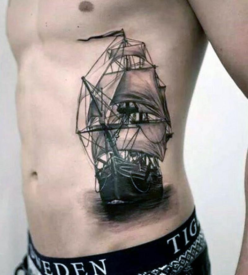 realistica gran vecchia barca inchiostro nero tatuaggio su costolette