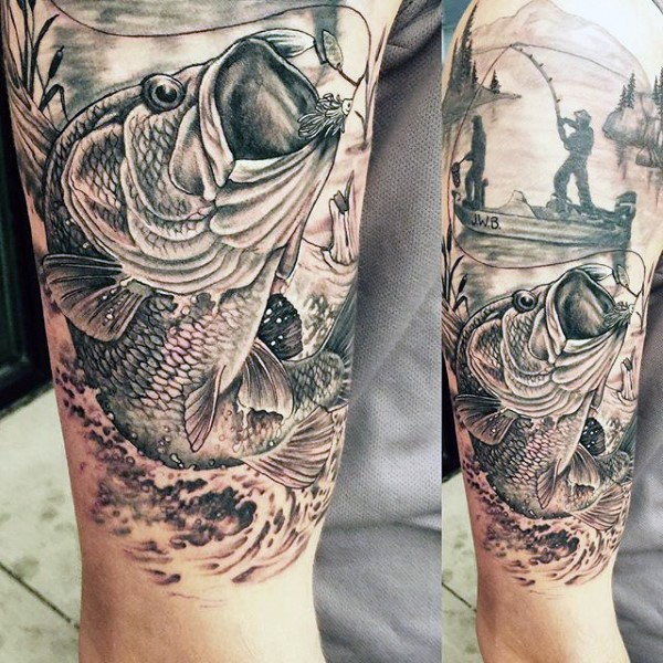 Very realistic looking black and white detailed fishing tattoo on half sleeve area