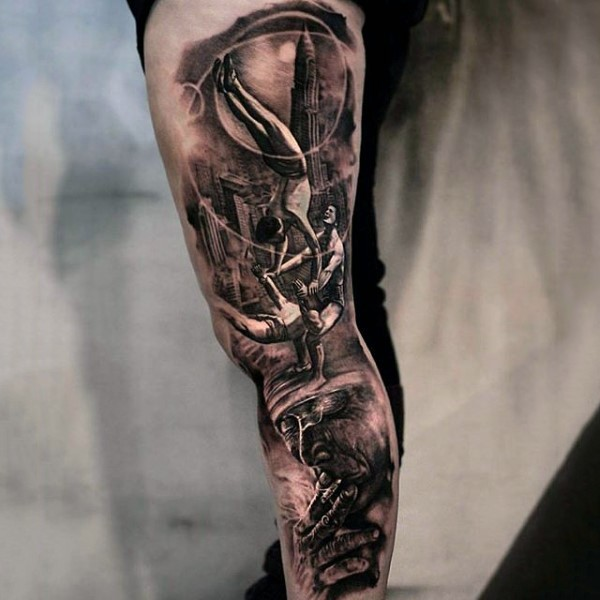 Black And Grey Stained Glass Tattoo