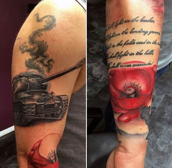 Very realistic looking colored and detailed WW2 tank with flower and lettering tattoo on arm