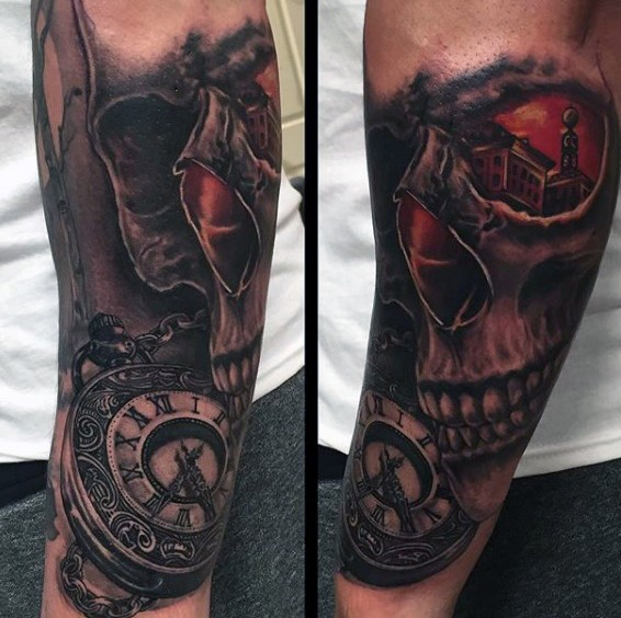Very realistic looking colored mystical skull with 3D like pocket clock tattoo on arm