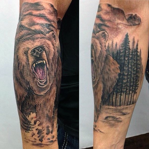 Very realistic looking colored roaring bear tattoo on sleeve