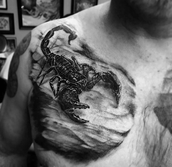 Very realistic looking magnificent detailed black scorpion tattoo on chest