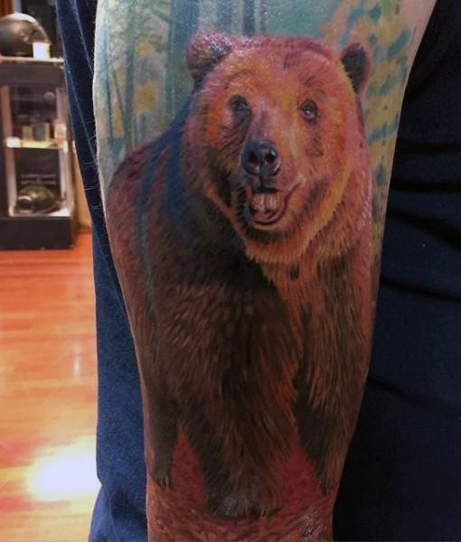 molto realistico naturale colorato orso tatuaggio a manicotto