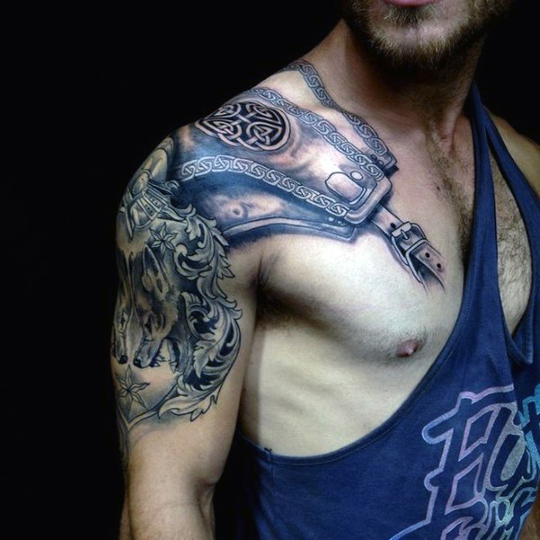 Very realistic looking old medieval armor like tattoo on shoulder