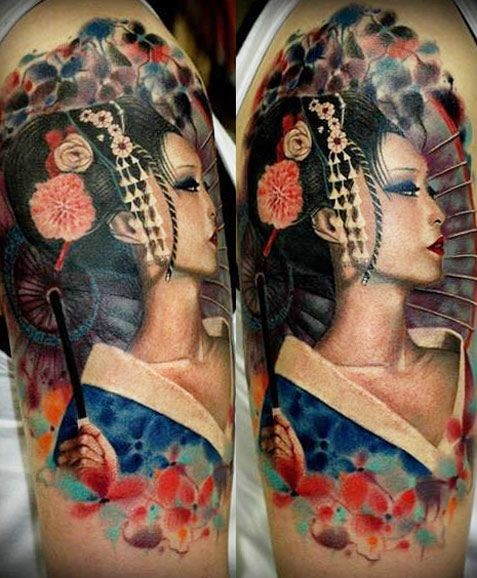 Very realistic looking stunning colored Asian geisha tattoo on shoulder