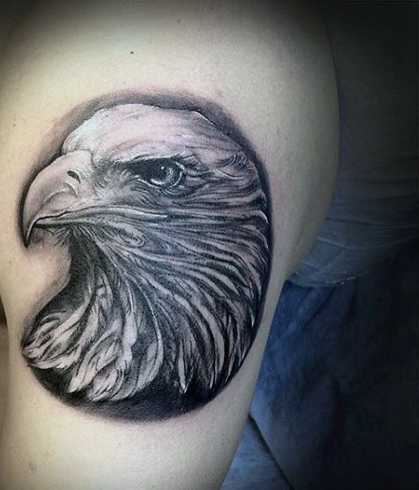 Very realistic looking white ink eagle tattoo on thigh