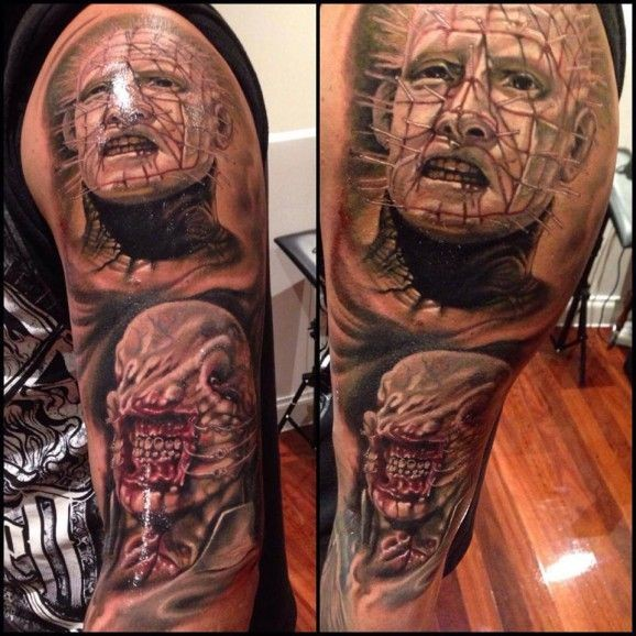 Very realistic painted and detailed horror monster heroes portraits tattoo on sleeve