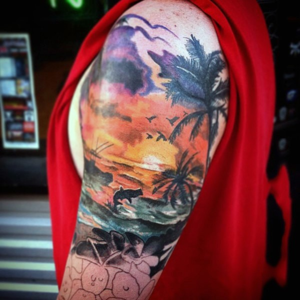 very romantic looking colorful ocean sunset with animals and palm trees tattoo on arm. Black Bedroom Furniture Sets. Home Design Ideas