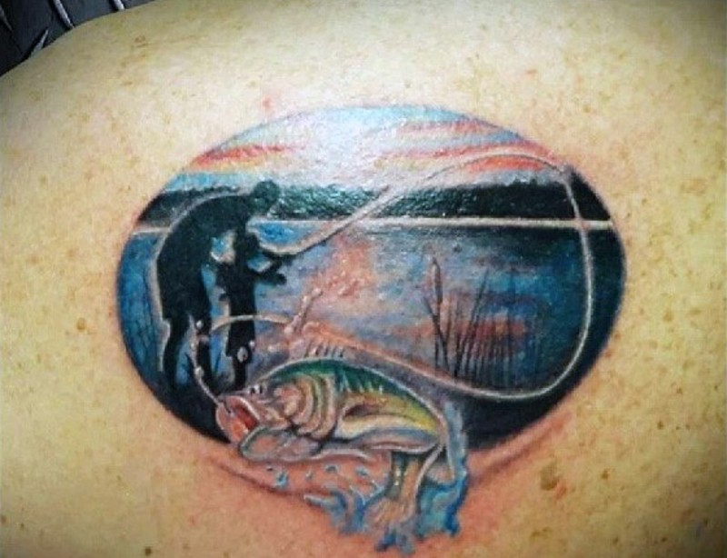 Very Sweet Designed And Painted Father And Son Fishing Tattoo On
