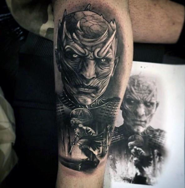 Video game like black and white demonic monster tattoo on leg