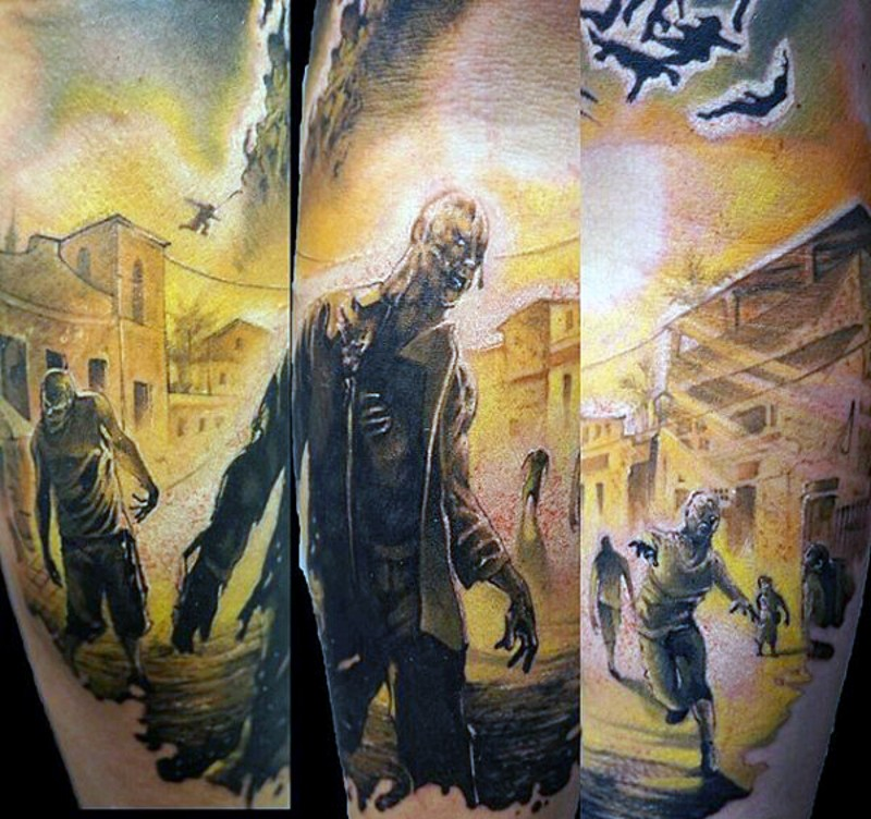 Video game themed colored zombie world tattoo on forearm