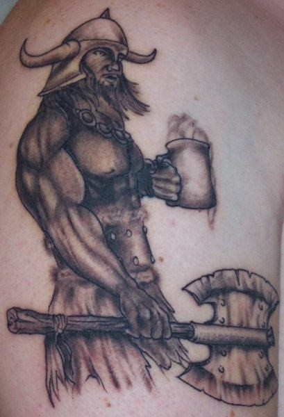 Viking with poleaxe and a mug of ale tattoo