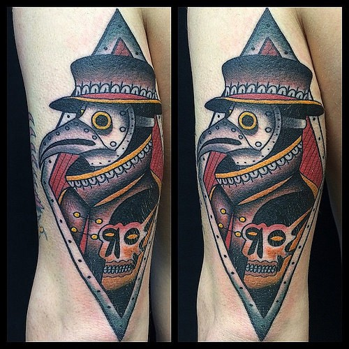 Vintage art style arm tattoo of plague doctor with human skull