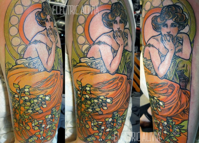 Vintage colored woman portrait tattoo on shoulder stylized with flowers