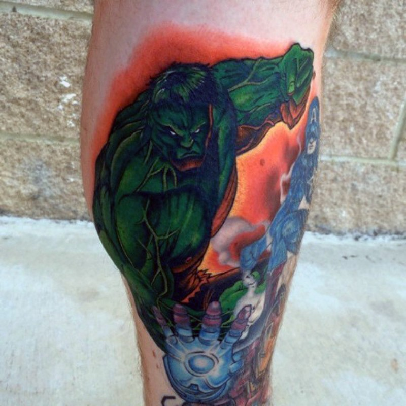 Vintage comic books like colored leg tattoo of various super heroes