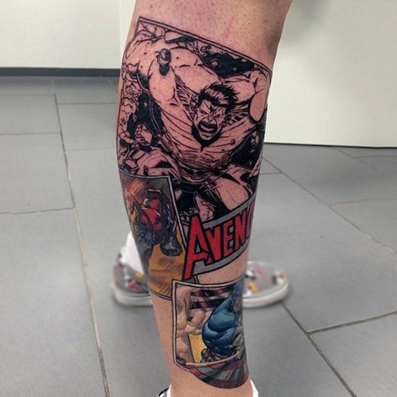 Vintage comic books themed medium leg tattoo of various heroes
