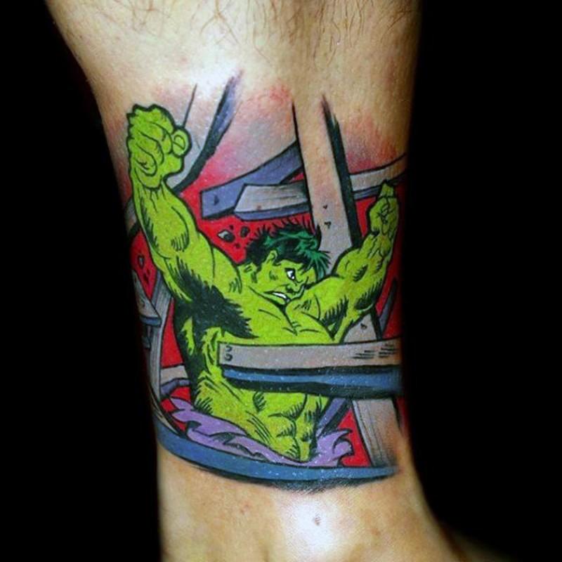 Vintage Hulk cartoon themed ankle tattoo
