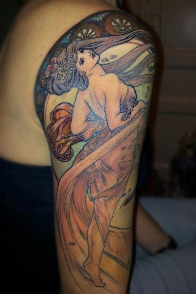 Vintage illustrative style colored shoulder tattoo of beautiful woman