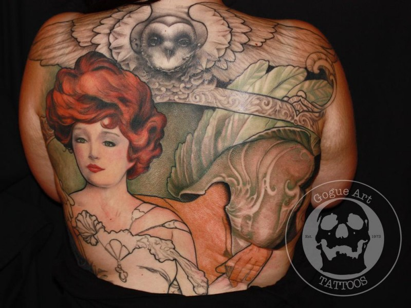 Vintage illustrative style colored whole back tattoo of woman with owl