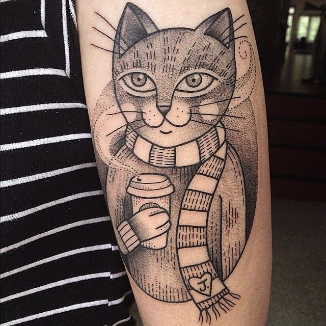 Vintage old school human like cat with coffee cup tattoo on forearm stylized with tiny heart