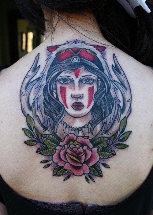 Vintage old school style colored tribal woman portrait tattoo on upper back combined with deer horns and flowers